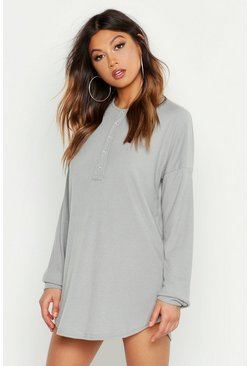 Womens Grey marl Button Through Rib Night Tee