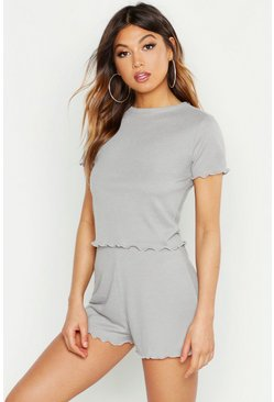 Womens Grey marl Lettuce Hem Rib Short Set