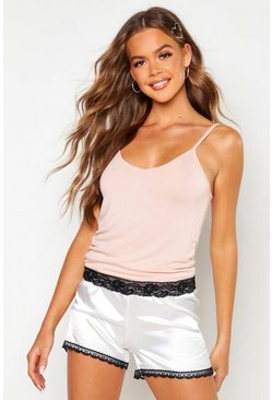 Womens Blush Mix & Match Lace Trim Cami Top
