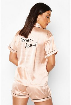 Rose gold Bride's Squad Satin Embroidered Pj Short Set