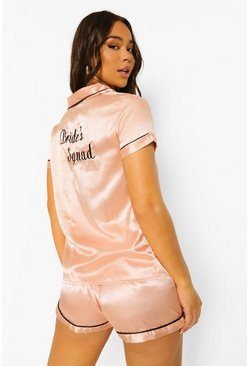 "Rose gold ""Bride's squad"" set i satin med brodyr och shorts"