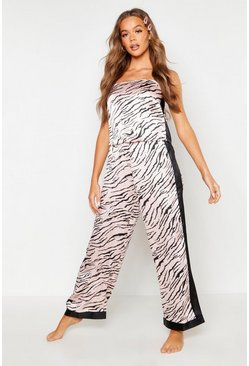 Womens Rose gold Tiger Print Side Stripe PJ Set