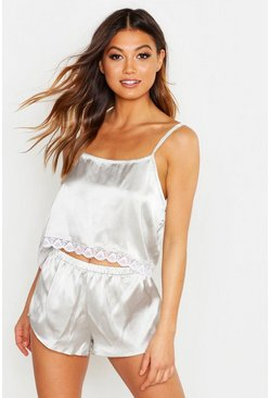 Womens Sage Satin Lace Hem Cami & Short Set