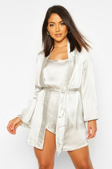 Womens Sage Satin Robe