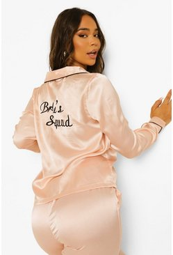 "Rose gold ""Brides Squad"" Set med pyjamasbyxor i satin"