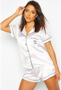 White Bride To Be Embroidered Satin Tshirt + Short Set