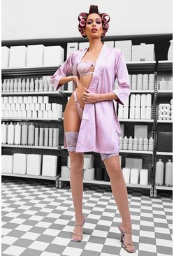 Womens Lilac Belted Kimono Sleeve Robe