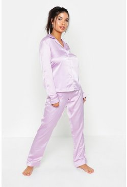 Womens Lilac Button Through Satin PJ Set