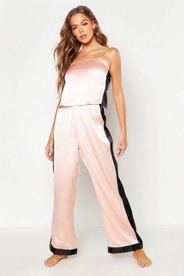 Womens Rose gold Side Stripe PJ Trouser Set