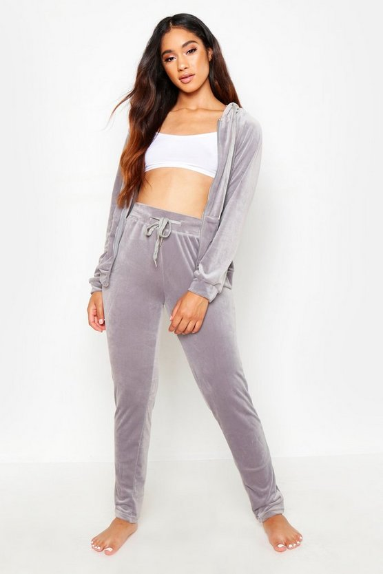 Womens Grey Premium Velour Lounge Set