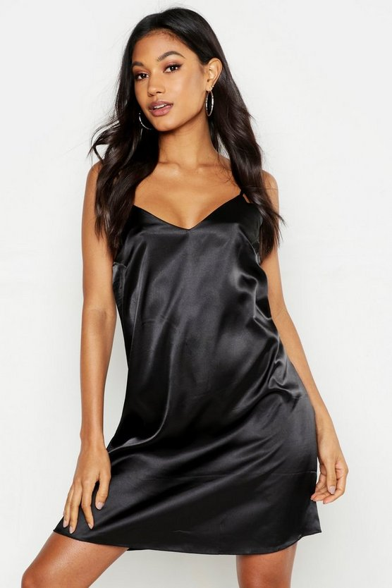 Womens Black Satin Slip Dress