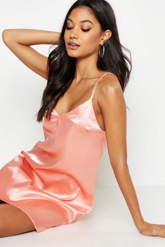 Womens Rose Satin Slip Dress