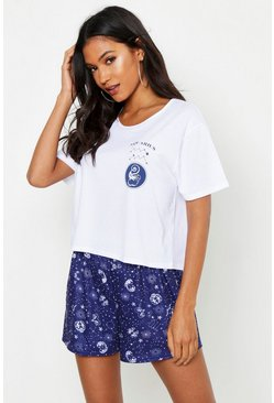 Womens Navy Aquarius Zodiac Print Shorts Set