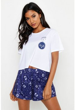 Womens Navy Aries Zodiac Print Shorts Set