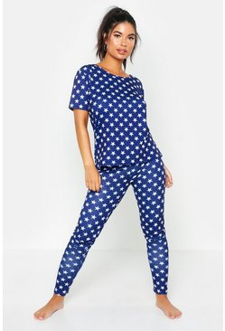 Womens Navy All Over Star Print PJ Set