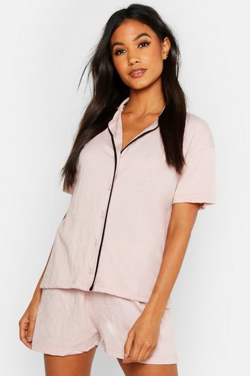 Womens Blush Short Sleeve Button Through PJ Set
