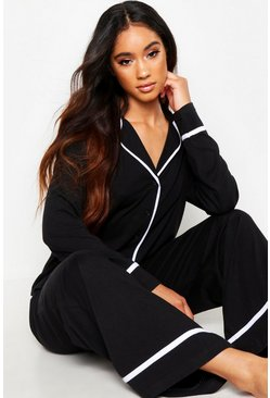 Womens Black Long Sleeve Button Through Jersey PJ Set