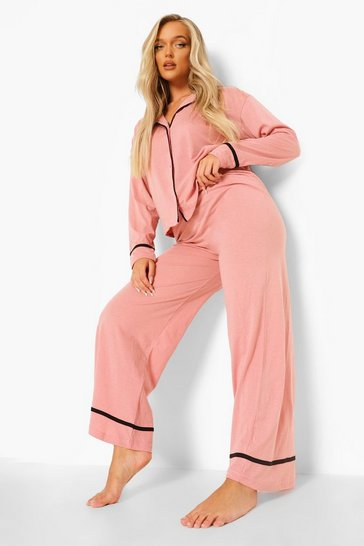 Blush Long Sleeve Button Through Jersey PJ Set