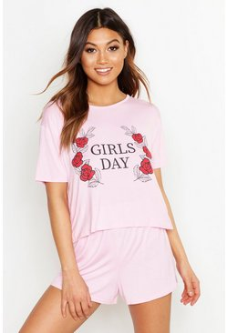 Womens Baby pink Girls Day Slogan Short Set