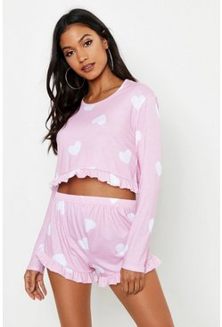Womens Baby pink Heart Print Frill PJ Short Set