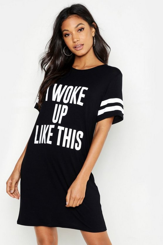 Black 'I Woke Up Like This' Oversized Sleep Tee