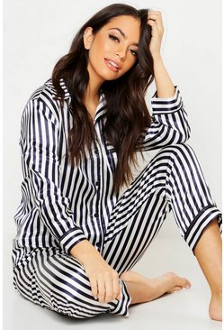 Satin Striped PJ Trouser Set, Navy, MUJER