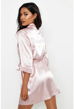 Womens Blush Diamante Bridesmaid Satin Robe