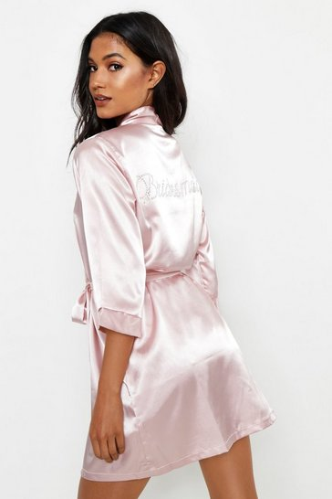 Blush Diamante Bridesmaid Satin Robe