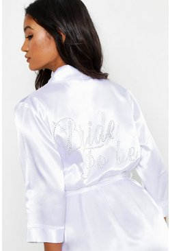 Womens White Diamante 'Bride to Be' Satin Robe