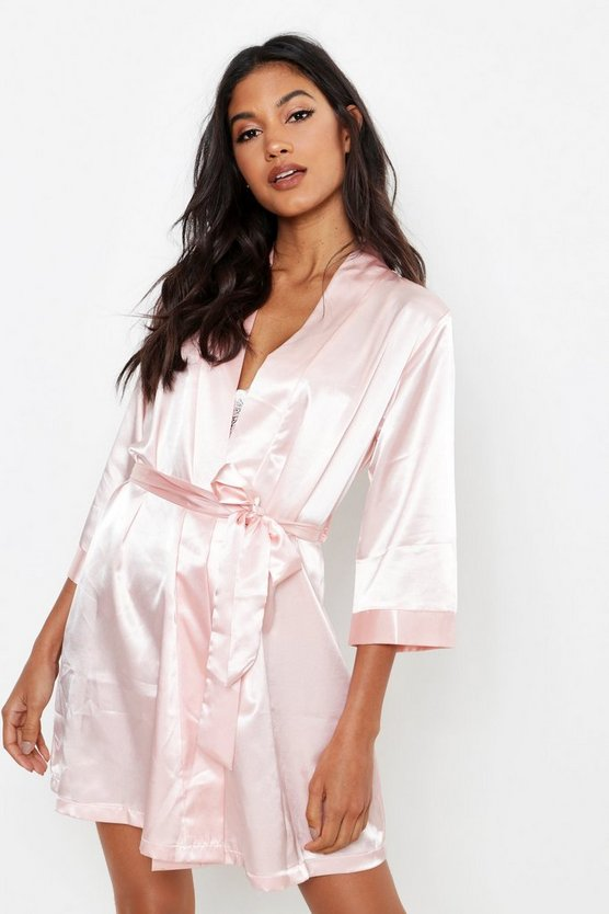 Womens Blush Diamante Brides Squad Satin Robe