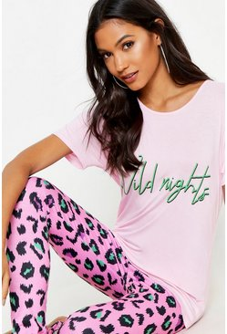 Womens Pink Wild Nights Leopard PJ Set