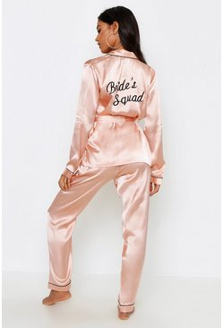 Rose gold Brides Squad Wrap Front PJ Set