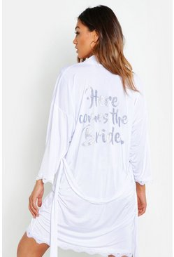 White 'Here Comes The Bride' Lace Trim Robe