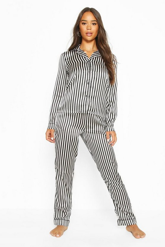 Womens Black Mono Stripe Brides Squad Trouser Set