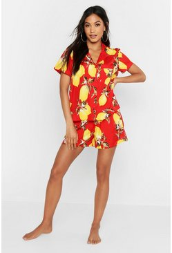 Womens Red Lemon Print Button Through Short Pyjamas