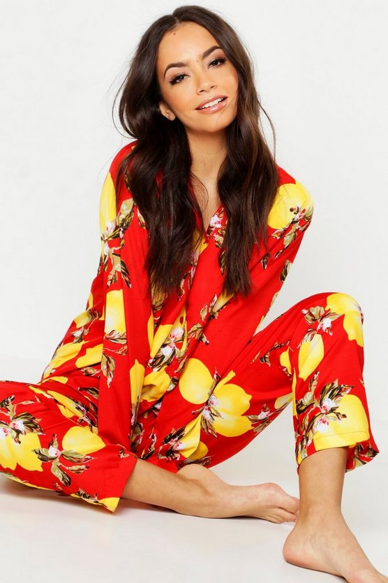 Womens Red Lemon Print Button Through Pyjamas