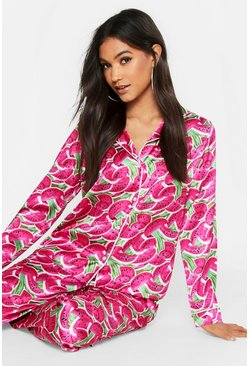 Womens Pink Watermelon Satin Pj Pants Set