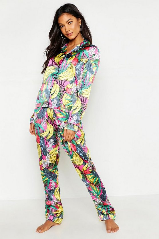 Womens Pink Tropical Satin PJ Set