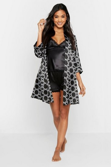 Womens Black Chain Print Satin Kimomo Robe