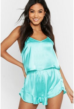 Womens Teal Satin Ruffle Short Set