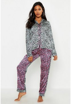 Womens Pink Ombre Leopard Satin PJ Set