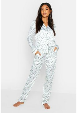 Womens White Cactus Satin PJ Set