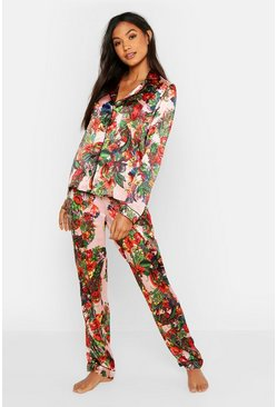 Womens Blush Vibrant Tropical Satin PJ Set