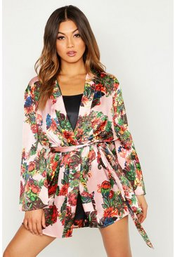 Womens Blush Vibrant Tropical Satin Kimono Robe