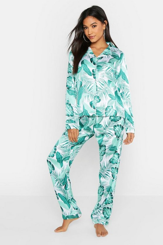 White Palm Print Satin PJ Set