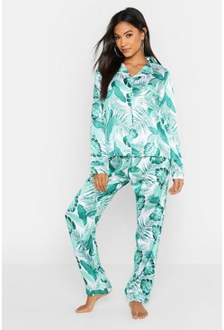 Womens White Palm Print Satin PJ Set