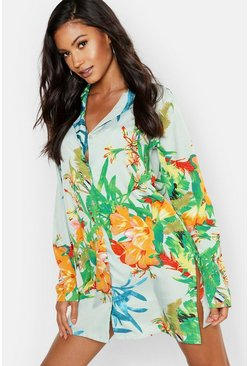 Womens Green Tropical Long Sleeve Button Through Nightshirt