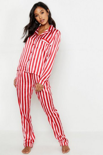 Womens Pink Stripe Satin Button Through PJ Set
