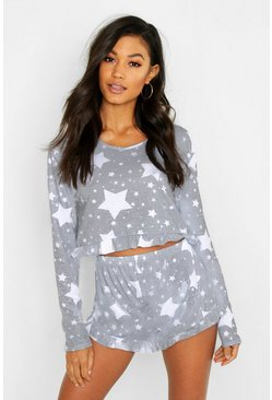 Womens Grey Star Print Frill PJ Short Set