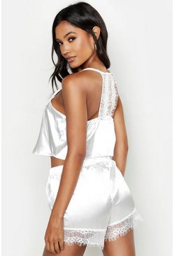 Womens Cream Lace Racerback Satin Cami & Short Set